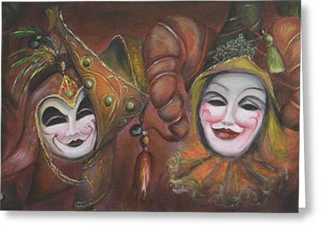 Mask Row Greeting Card by Nik Helbig