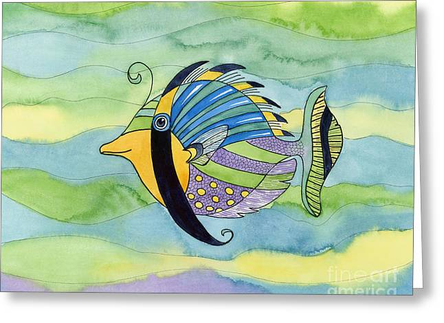 Swimming Fish Greeting Cards - Masked Fish Greeting Card by Amy Kirkpatrick