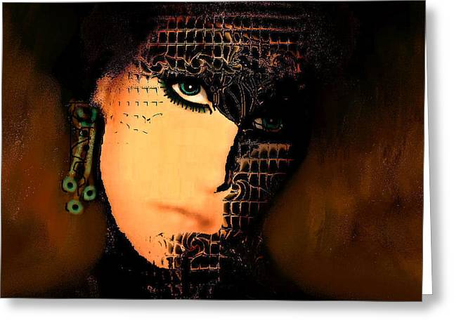 Creepy Digital Greeting Cards - Masked For Halloween Greeting Card by Natalie Holland