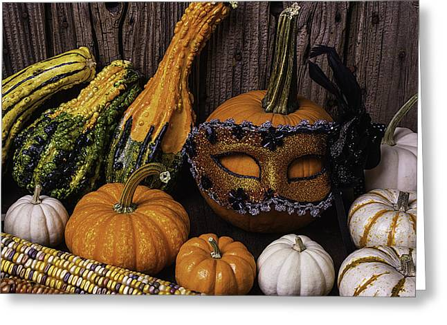 Mottled Greeting Cards - Masked Pumpkin Greeting Card by Garry Gay