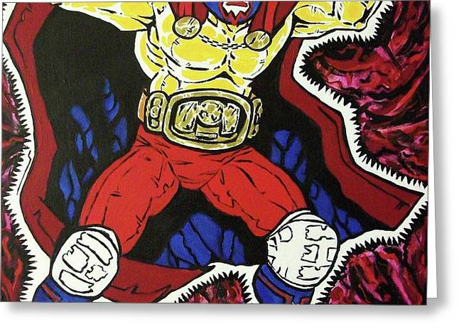 Masked Wrestler Collaboration Greeting Card by Suzanne  Marie Leclair
