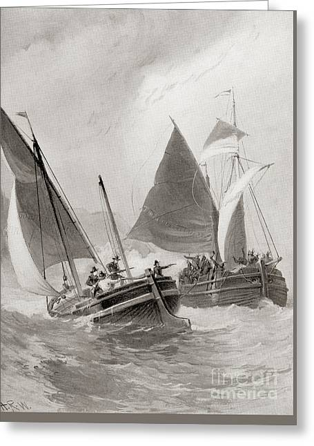 Mason And Gallop Attacking The Indians Off Block Island Greeting Card by American School