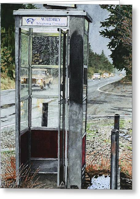 Mason-dixon Phone Booth Greeting Card by Perry Woodfin