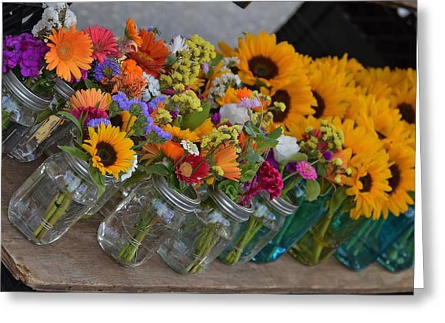 Mason Jar Flowers Greeting Card by 2bearsphotography