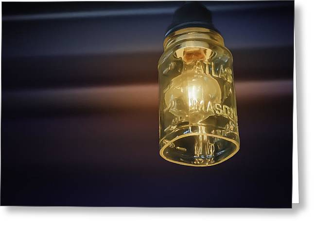 Warm Tones Greeting Cards - Mason Jar Light Greeting Card by Scott Norris
