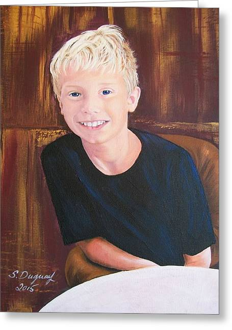 Youth Hockey Paintings Greeting Cards - Mason  Greeting Card by Sharon Duguay