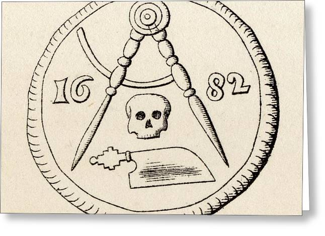 Seal Drawings Greeting Cards - Masonic Seal Mereau Funeraire Of Greeting Card by Vintage Design Pics