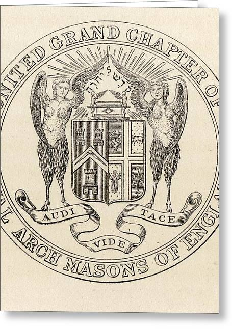 Seal Drawings Greeting Cards - Masonic Seal United Grand Chapter Greeting Card by Vintage Design Pics