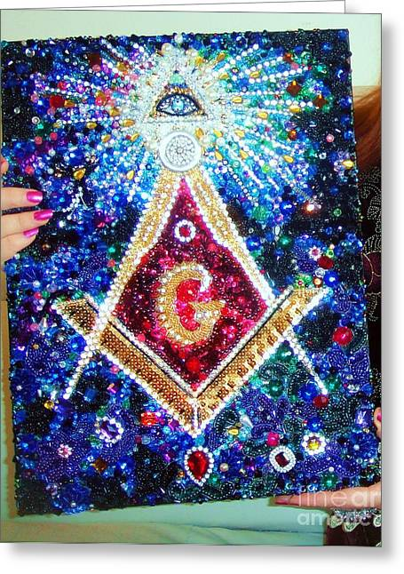 Golden Jewelry Greeting Cards - Masonic symbol beadwork bead embroidery by Sofia Goldberg Greeting Card by Sofia Goldberg