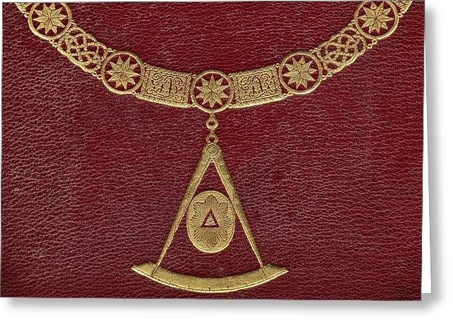 Gold Necklace Greeting Cards - Masonic Symbols From Cover Of The Greeting Card by Ken Welsh