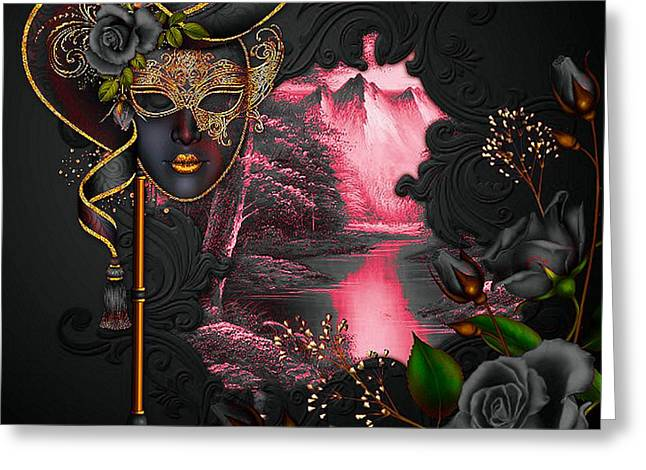 Floral Digital Art Digital Art Greeting Cards - Masquerade Mountain Greeting Card by G Berry