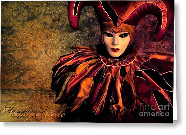 Masked Greeting Cards - Masquerade Greeting Card by Photodream Art