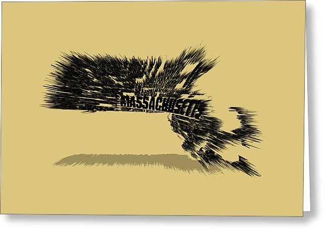 Massachusetts Bay Colony Greeting Cards - Massachusetts Typographic Map 5a Greeting Card by Brian Reaves
