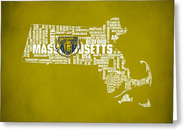 Mayflower Mixed Media Greeting Cards - Massachusetts Typographic Map Greeting Card by Brian Reaves