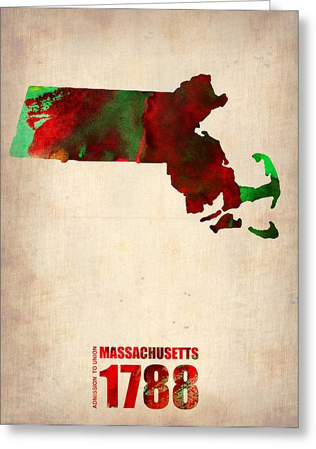 State Map Greeting Cards - Massachusetts Watercolor Map Greeting Card by Naxart Studio