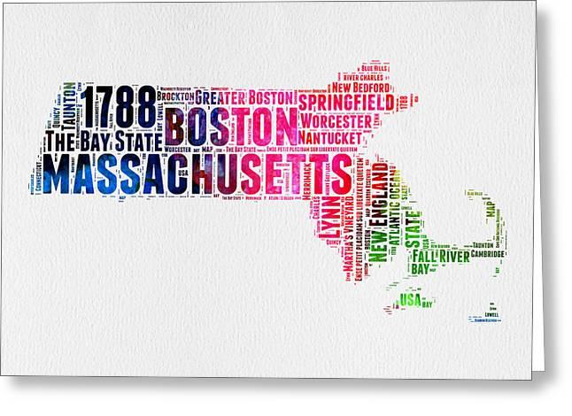 Massachusetts Watercolor Word Cloud Map  Greeting Card by Naxart Studio