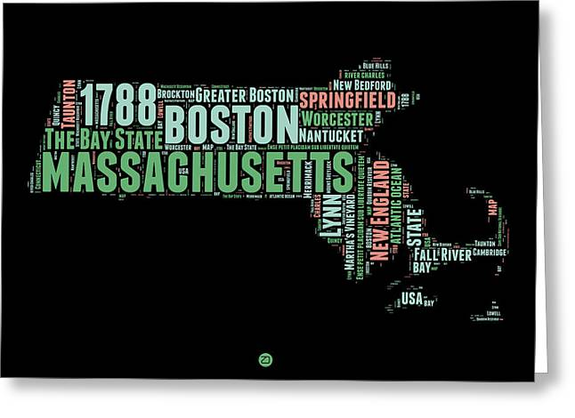 Massachusetts Word Cloud Map 1 Greeting Card by Naxart Studio