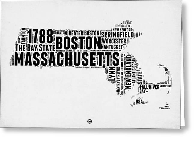 Massachusetts Word Cloud Map 2 Greeting Card by Naxart Studio