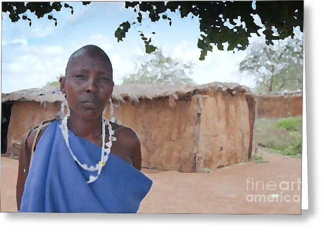 Haus Digital Greeting Cards - Massai Woman and House Greeting Card by Meike Hofstetter