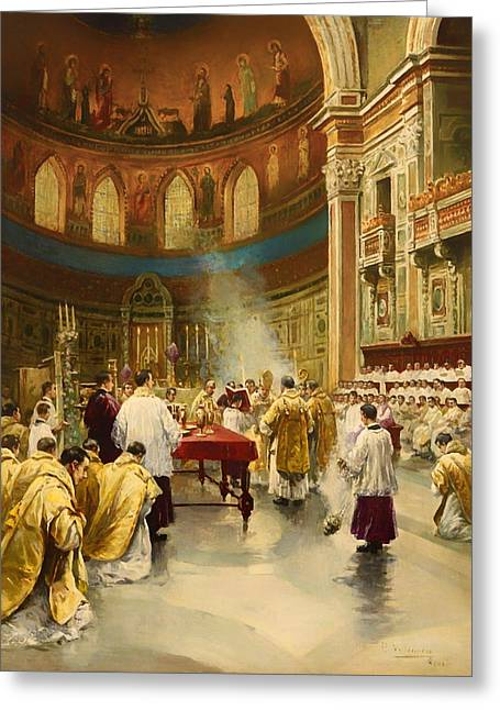 Religious Paintings Greeting Cards - Masses in St. John Lateran in Rome Greeting Card by P Villanueva