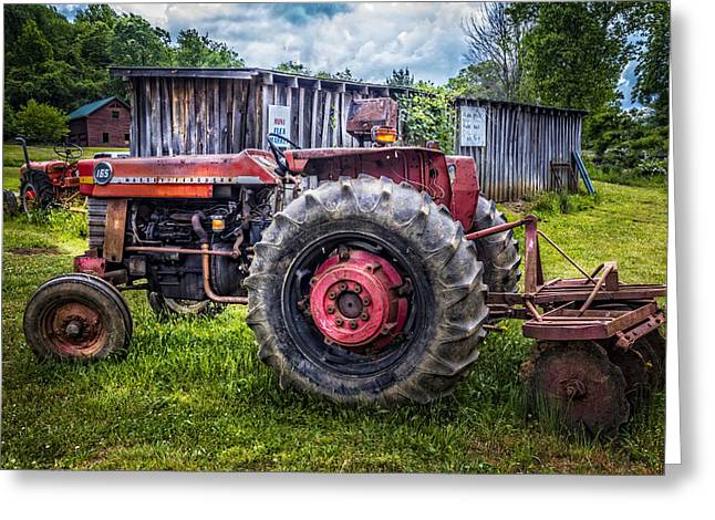 Old Barns Greeting Cards - Massey Ferguson Greeting Card by Debra and Dave Vanderlaan