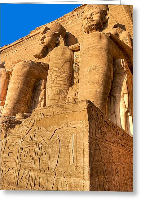 Ancient Ruins Greeting Cards - Massive Statues of Ramses the Great at Abu Simbel Greeting Card by Mark E Tisdale