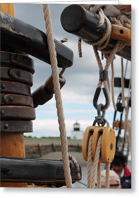 Schooner Greeting Cards - Mast and Boom the Schooner Fame Greeting Card by Daniel Vassily