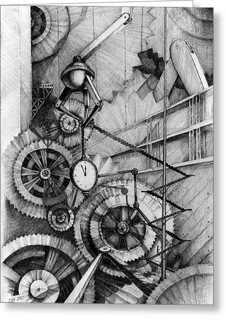 Mechanism Drawings Greeting Cards - Master of Time Greeting Card by Alena Kaz