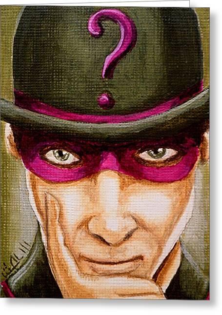 Batman Greeting Cards - Mastermind Am I Greeting Card by Al  Molina