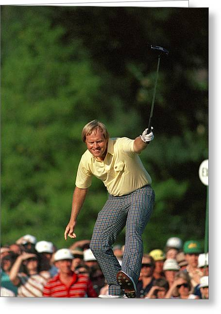 Masters Winning Put 1986 Jack  Nicklaus 1986 Greeting Card by Peter Nowell