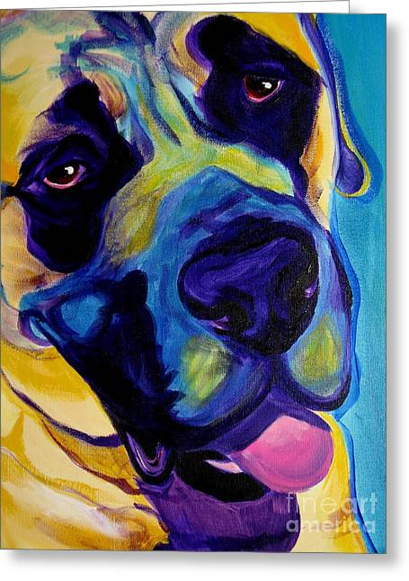 Alicia Vannoy Call Paintings Greeting Cards - Mastiff - Lazy Sunday Greeting Card by Alicia VanNoy Call