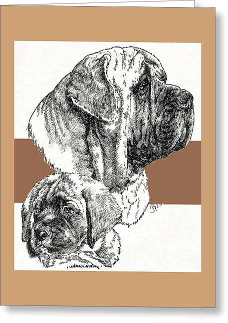 Working Dog Greeting Cards - Mastiff Father and Son Greeting Card by Barbara Keith