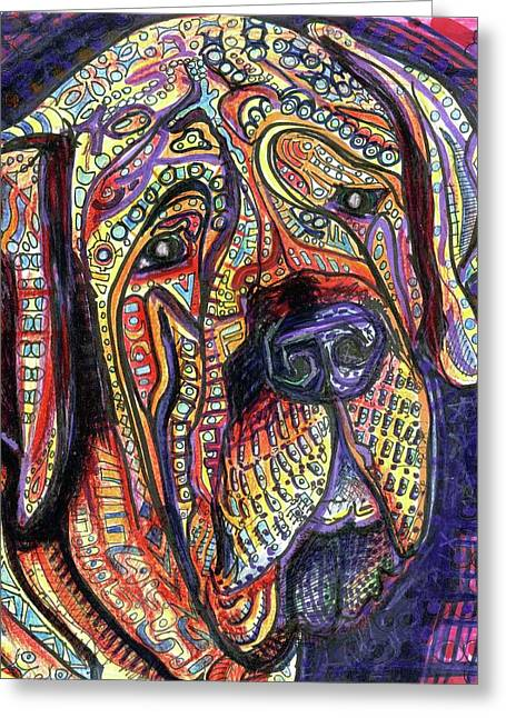 Dog Portrait Mixed Media Greeting Cards - Mastiff Greeting Card by Robert Wolverton Jr