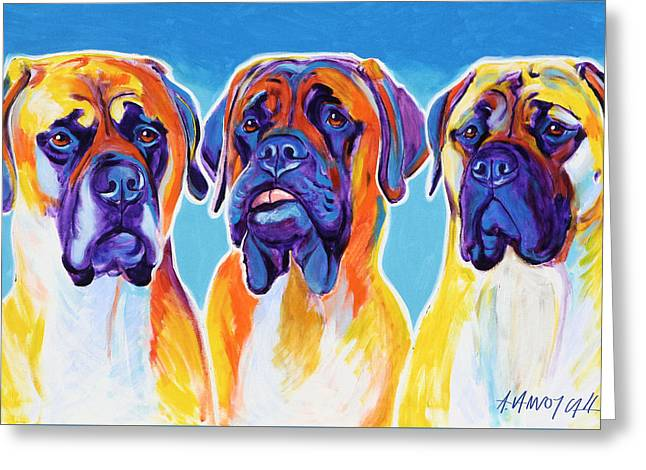 Alicia Vannoy Call Paintings Greeting Cards - Mastiffs - All in the Family Greeting Card by Alicia VanNoy Call