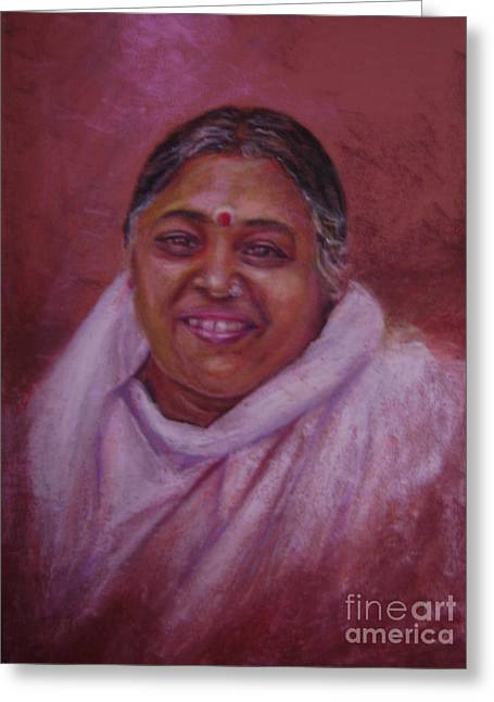 Mata Amritanandamayi Greeting Card by Asha Porayath