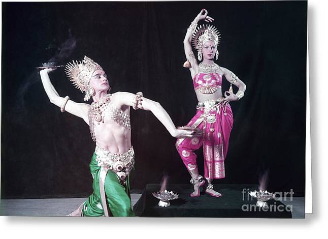 Mata And Hari, Comedic Dancers Greeting Card by The Phillip Harrington Collection
