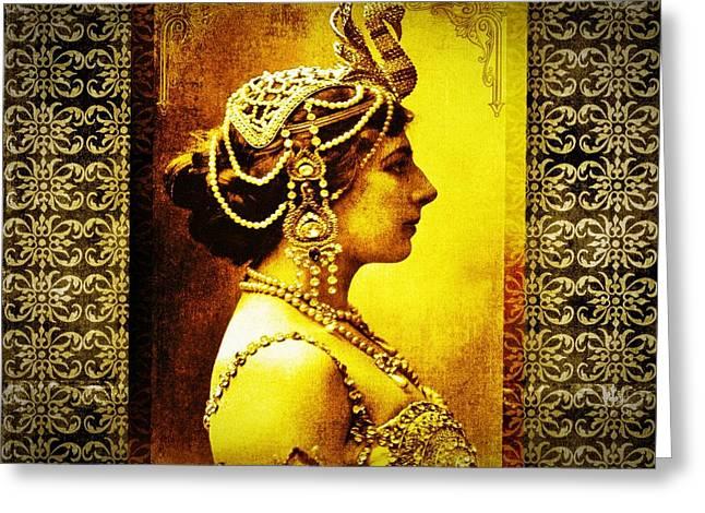 Hari Greeting Cards - Mata Hari Greeting Card by Mary Morawska