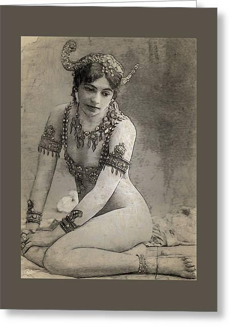Mata Hari Sketch Greeting Card by Joaquin Abella