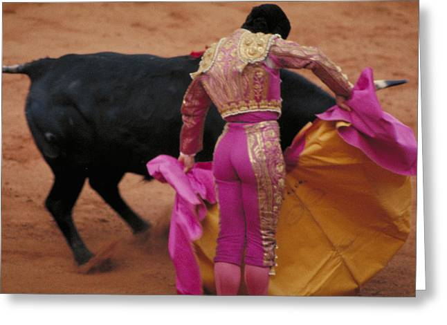 Matador and Bull Greeting Card by Carl Purcell