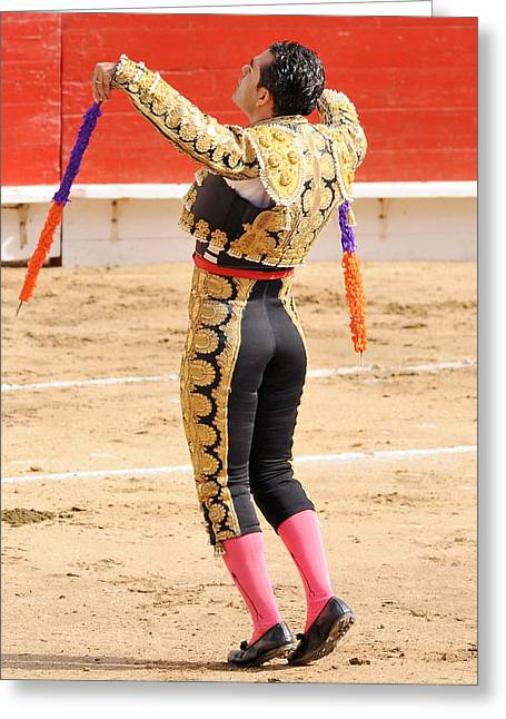Mexican Fighters Greeting Cards - Matador with Banderillas Greeting Card by Clarence Alford