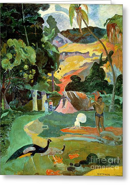 Gauguin; Paul (1848-1903) Paintings Greeting Cards - Matamoe or Landscape with Peacocks Greeting Card by Paul Gauguin