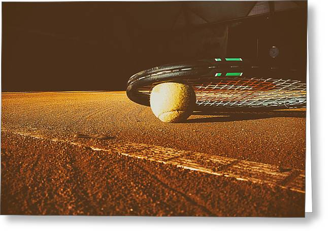 Clay Court Greeting Cards - Match Over Greeting Card by Foundry Co