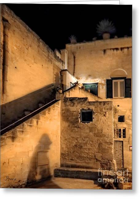 Southern Province Greeting Cards - Matera After Dark Greeting Card by Jennie Breeze