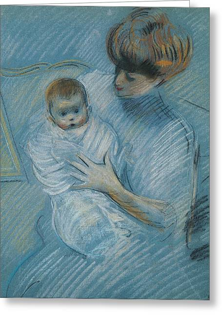 Kid Pastels Greeting Cards - Maternity Greeting Card by Paul Cesar Helleu