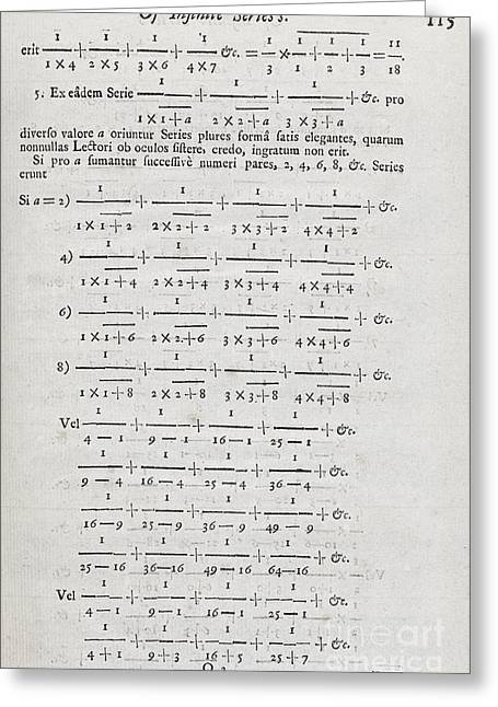 Royal Society Of London Greeting Cards - Mathematical Series, 1717 Greeting Card by Middle Temple Library