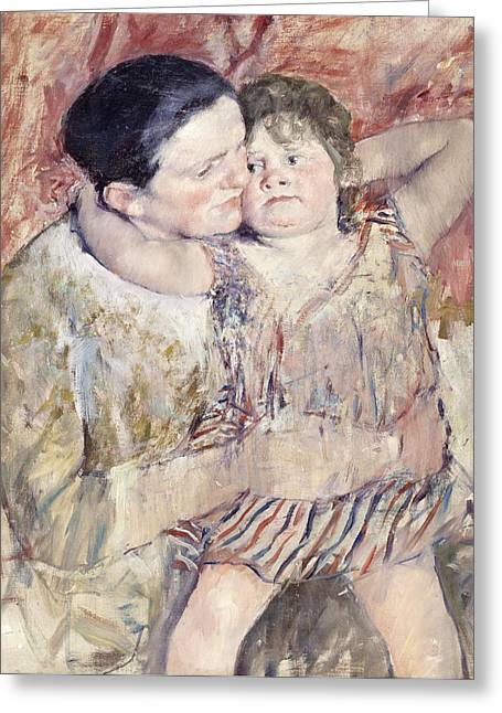 Cassatt Paintings Greeting Cards - Mathilde Holding a Child Greeting Card by Mary Stevenson Cassatt
