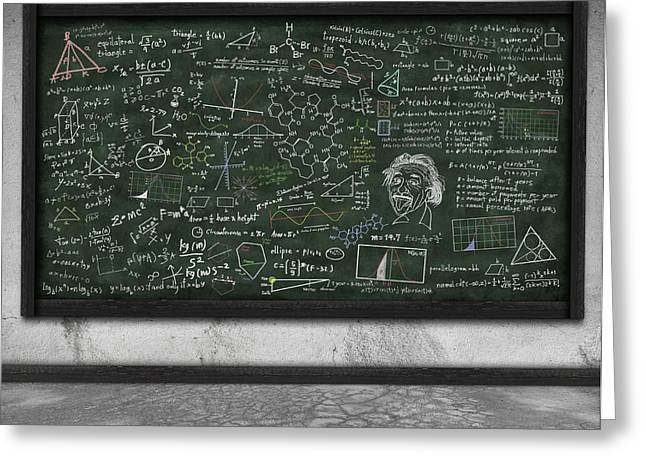 Problem Greeting Cards - Maths Formula On Chalkboard Greeting Card by Setsiri Silapasuwanchai