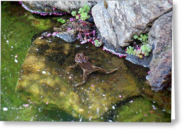 Mating Season Greeting Cards - Mating Season at the Frog Pond II Greeting Card by Suzanne Gaff