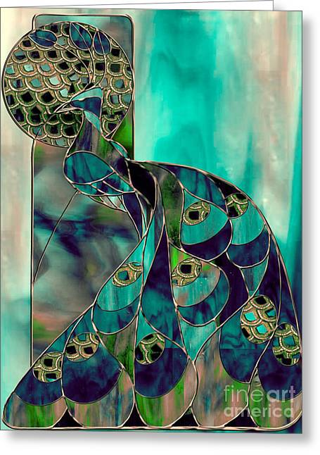 Stained Glass Greeting Cards - Mating Season Stained Glass Peacock Greeting Card by Mindy Sommers