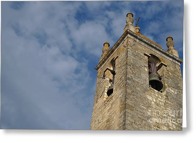 Medieval Temple Greeting Cards - Matriz Church Bell Tower in Loule Greeting Card by Angelo DeVal